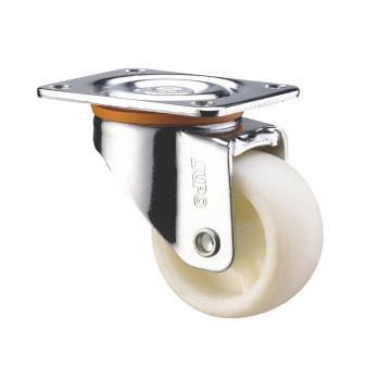 SUPO 01款镀铬3寸平底活动奶白色PA轮 C01-01-75-614