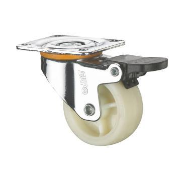 SUPO 01款镀铬3寸平底单刹奶白色PA轮 C01-01E-75-614