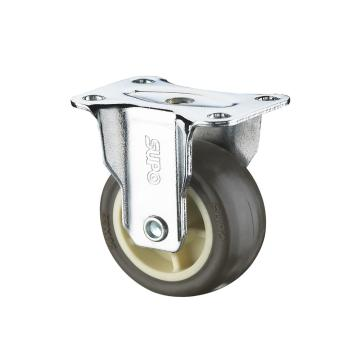 SUPO 01款镀铬1寸固定咖啡色TPR轮 C01-04-25-414