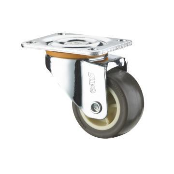 SUPO 01款镀铬1寸平底活动咖啡色TPR轮 C01-01-25-414