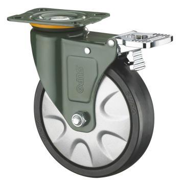 SUPO 03S款墨绿3寸平底铝合金双刹双轴承黑色PA轮 J03S-01A-75-662