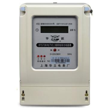 上海华立 电子式三相四线有功电能表,DTS738 1.5(6)A