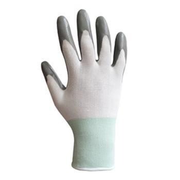 100%精细长尼龙针织手芯丁腈涂层手套,尺码:M