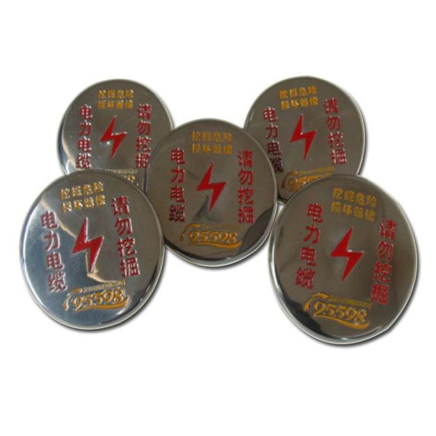 不锈钢圆扣,电力电缆 请勿挖掘,φ100*25*1mm