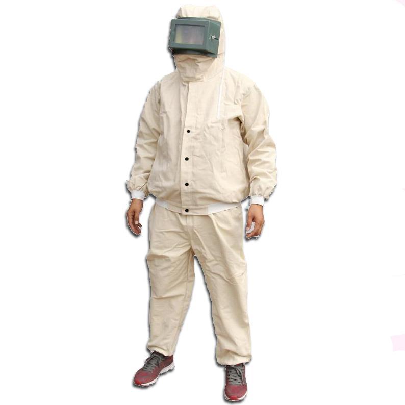 加厚帆布喷砂服,米白,均码(含头罩、上衣、裤子)