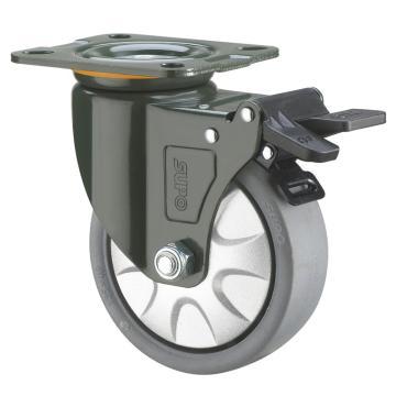 SUPO 05S款墨绿漆4寸平底塑料双刹双轴承灰色PP轮 J05S-01D-100-112