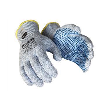 赛立特 N10611-9 手掌蓝色PVC点珠手套,13针BLADEX5防切割针织内胆防割手套
