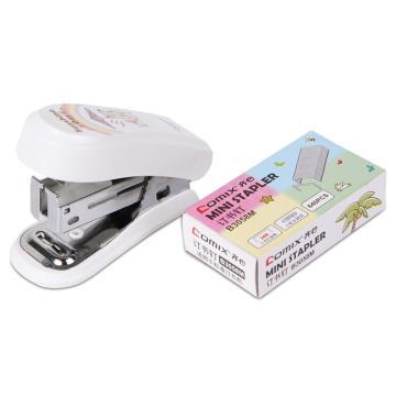 齐心 B3003 MINI学生订书机套装 12#订书机配订书钉 颜色随机