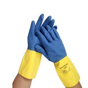 Ansell 2247 10号 ChemiPro™ 天然橡胶表浸25%涂层手套,棉植绒