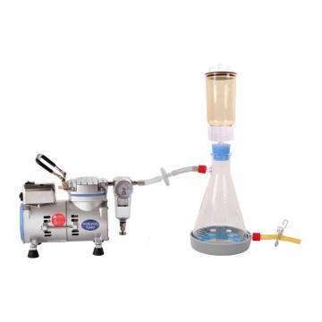实验室水溶液抽滤装置;R300抽滤泵 + LF31真空抽滤瓶一套,最大真空度:-670mmHg=90torr=120mbar,最大流速:18L/min