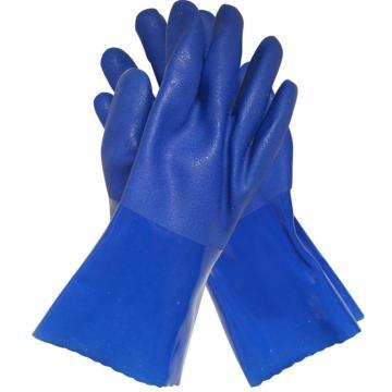 博尔格 PVC防化手套,801-9,耐油防护手套 蓝色
