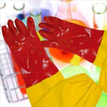 强生 82203536 PVC红黄接袖防化手套,60cm(35cm+25cm)