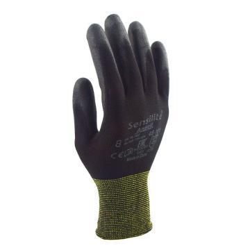 Ansell 48-101-10 PU掌部涂层手套,黑色,12副/打