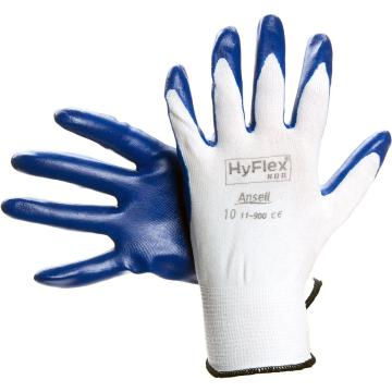 Ansell 11-900-9 橡胶涂层手套,HyFlex® NBR 衬里手套,掌部涂丁腈橡胶,尼龙