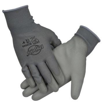 赛立特 PU涂层手套,N10559-8,浸灰色PU手套 13针灰色涤纶针织内胆