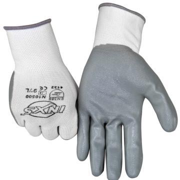 赛立特 N10500-9 13针白色复合丝针织手套,手掌浸灰色丁腈光面,12副/打