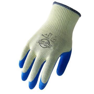 赛立特 L22110A 10针涤棉针织内胆,拇指全浸蓝色乳胶手套