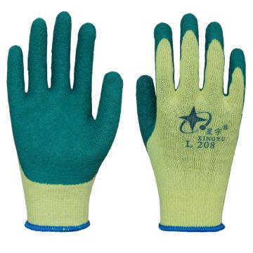 星宇 L208 涂层手套,涤棉纱线乳胶皱纹手套,黄纱绿