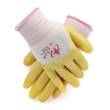 星宇 PVC涂层手套,P528,13针白尼龙PVC半浸 黄色涂层