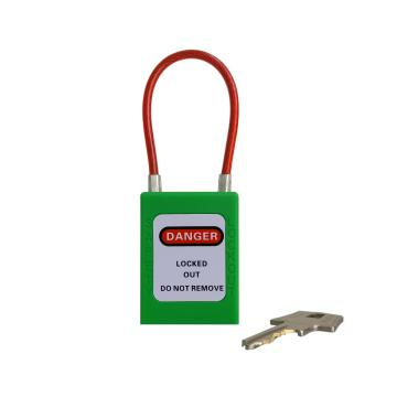 细头钢缆安全挂锁 铝头直径4.5mm 通开二级管理型 PS54,绿色