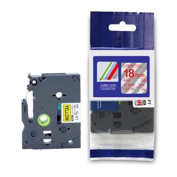 普贴 标签色带,透明底红字18mm TZ2-142 适用于兄弟TZ系列标签机 单位:卷