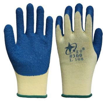 星宇 乳胶涂层手套,L108-黄纱兰,乳胶皱纹涂层手套