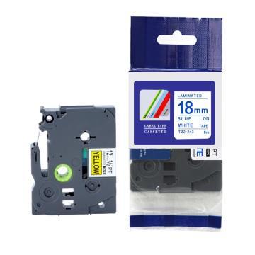 普贴 标签色带,白底蓝字TZ2-243宽度18mm 适用于兄弟TZ系列标签机 单位:卷