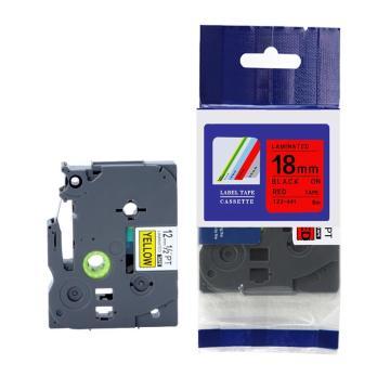 标签色带,红底黑字TZ2-441宽度18mm 适用于兄弟TZ系列标签机