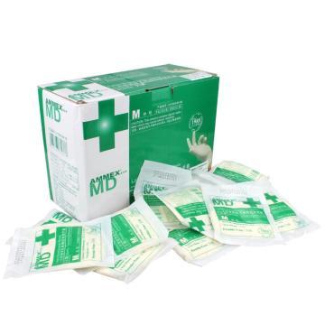 爱马斯AMMEX 无粉一次性手套,TLFCSIP42100,橡胶材质 灭菌 小号,10盒/箱(新旧包装随机发