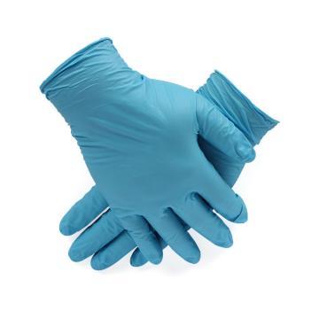 爱马斯AMMEX 无粉一次性手套,APFGWC44100,掌麻蓝色丁腈手套 中号,100只/盒