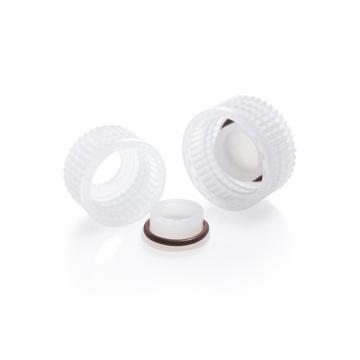 NALGENE密封盖装置,聚丙烯螺旋盖,Tefzel*ETFE塞,Viton*氟橡胶O形环,聚丙烯肩部支撑环,适合盖尺寸20mm