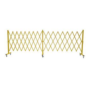伸缩隔离栏 铁边柱铝网格 不锈钢铆钉 展开W4000×H1440mm 自带滚轮 F3H,黄色