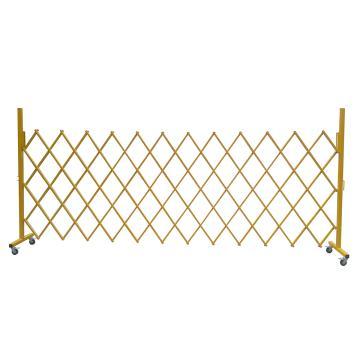 伸缩隔离栏 全铁材质 高1.5m(拉到最长高度)长度范围400-4000mm 自带滚轮 F5T,黄色