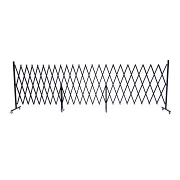 伸缩隔离栏 全铁材质 高1.2m(拉到最长高度)长度范围520-6700mm 自带滚轮 F3P,黑色