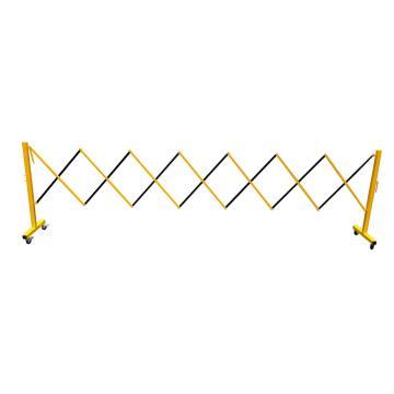 伸缩隔离栏 全铁材质 高950mm长度范围290-3500mm B2U 自带滚轮,黄/黑