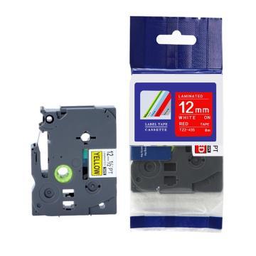 普贴 标签色带,红底白字TZ2-435宽度12mm 适用于兄弟TZ系列标签机 单位:卷