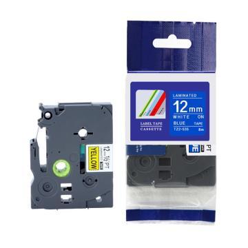 标签色带,蓝底白字TZ2-535宽度12mm 适用于兄弟TZ系列标签机