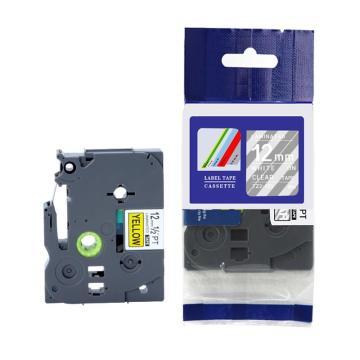 标签色带,透明底白字TZ2-135宽度12mm 适用于兄弟TZ系列标签机