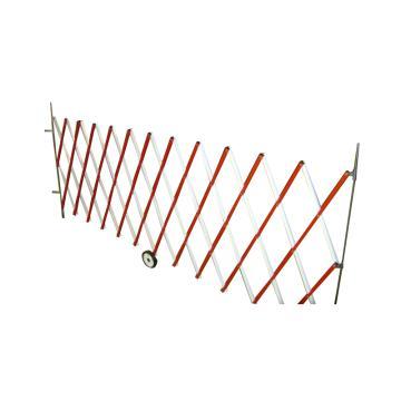 伸缩隔离栏 铁边柱铝网格 高1.2m(拉到最长高度)长度范围500-6000mm 自带滚轮 F3A,红/白