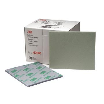 3M海绵砂纸块,型号:02600,1200#-1500#,绿色,114*139mm,microfine,6盒(120片)/箱