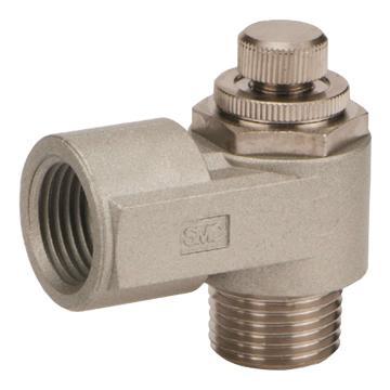 SMC 金属弯头型速度控制阀,AS2210-02