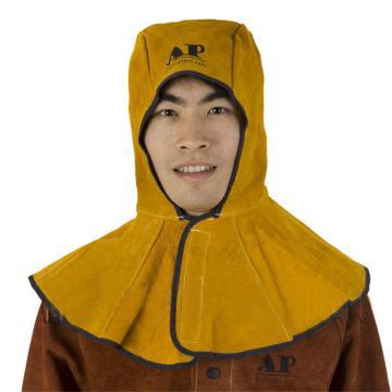 金黄色牛皮全护式焊帽,39CM高,周长50CM