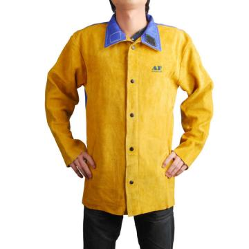 金黄色皮配蓝色阻燃背布焊接服,尺码:M