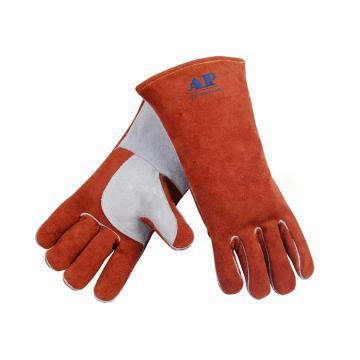 友盟 焊接手套,AP-2600-L,咖啡色高档皮手套
