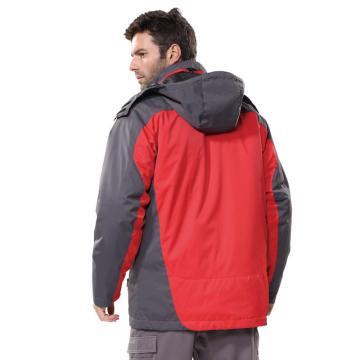 安大叔B300高级防水提花涂层布防寒服,红拼灰,尺码:M