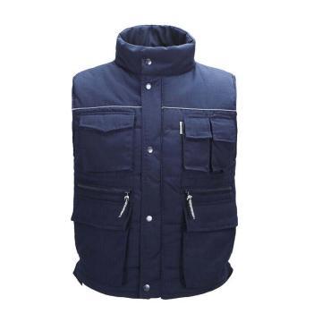 雷克兰9065深蓝色涤棉混纺面料防寒马甲,尺码:S,季节性产品