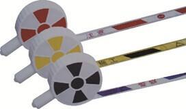 PVC手柄警戒带:宽5cm长50m,黄黑