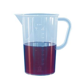 刻度烧杯,PP材质,蚀刻刻度,5000: 100ml,带把手,6个/包
