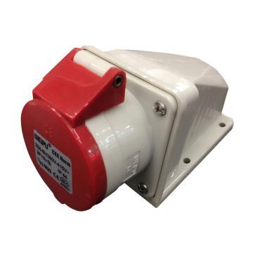 威浦TYP系列明装工业插座,5P 32A 400V IP44 红色,6823