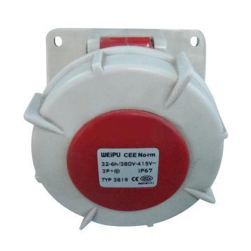 威浦TYP系列暗装斜式工业插座,4P 32A 400V IP67 红色,3819